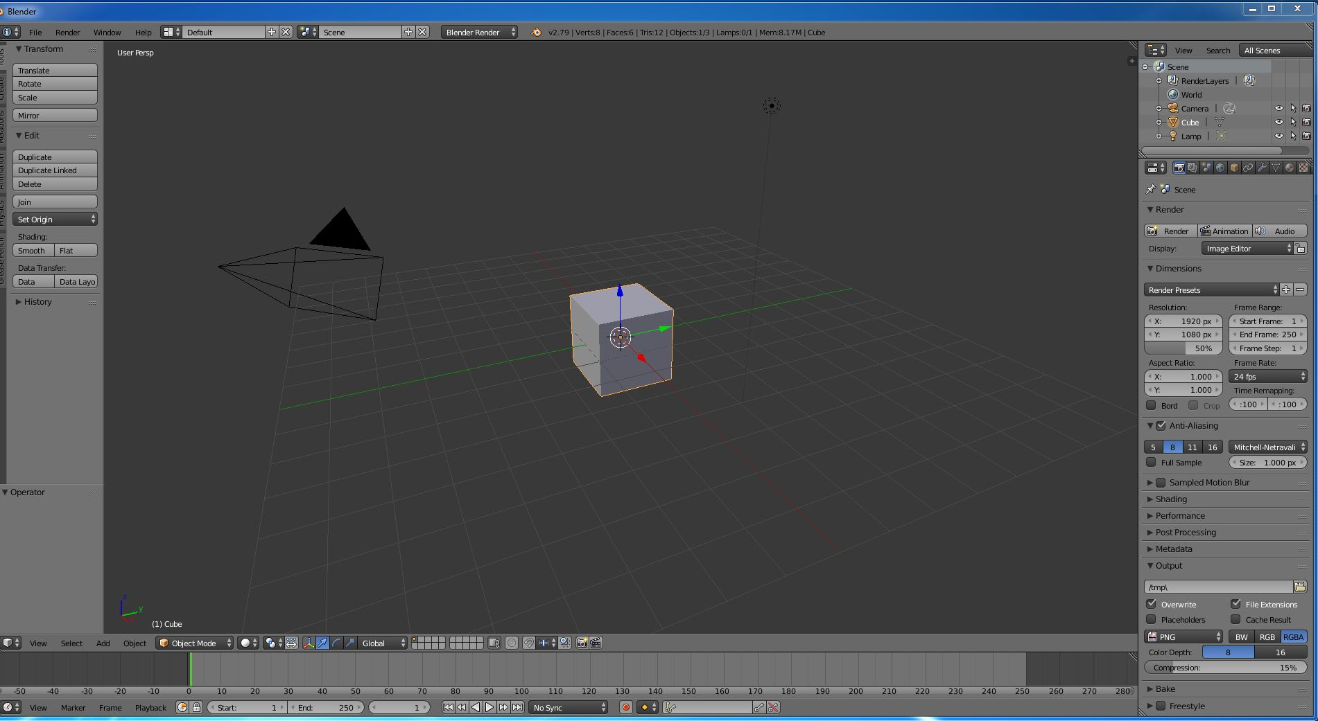 Screenshot der Arbeitsoberfläche der Blender Software
